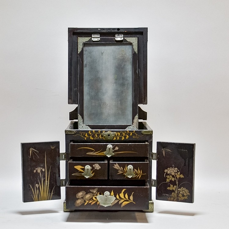 Japanese Meiji Lacquer Mirror Make-Up Cabinet