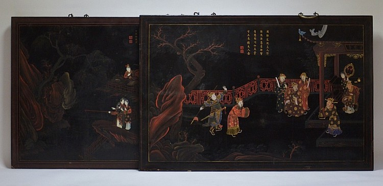 Pr. Chinese 19C. Lacquer Court Scene Wall Hangings