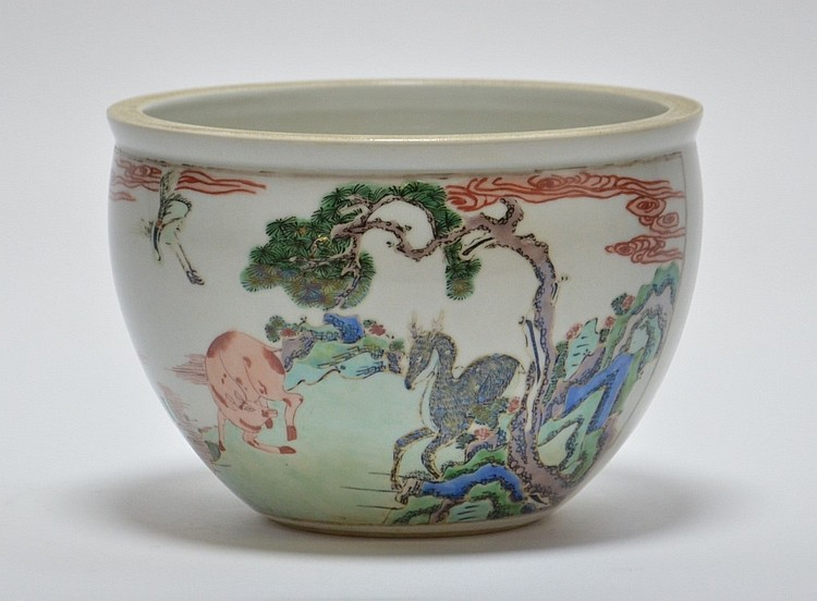 19th C. Chinese Famille Rose Porcelain Jardiniere
