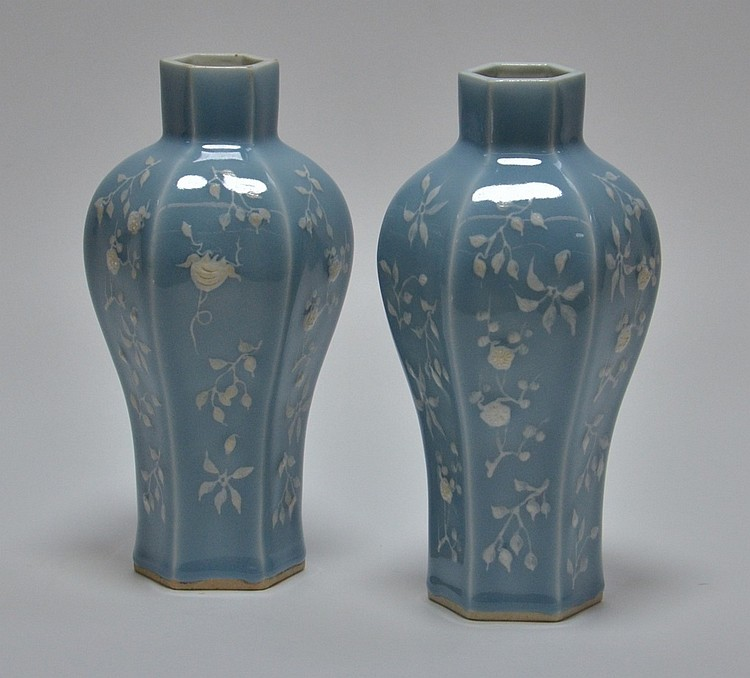 PR Chinese Blue & White Porcelain Flower Vases