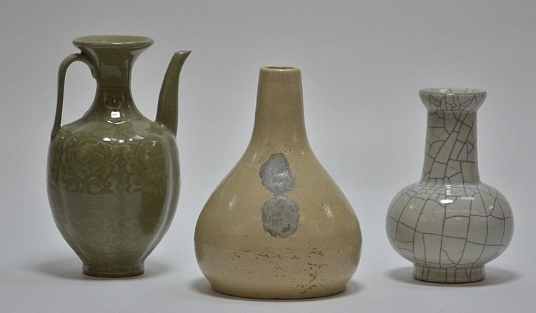 3 Chinese Celadon Crackle Glaze Porcelain Vases