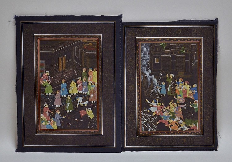 2 Southeast  Asian Indian Silk Paintings