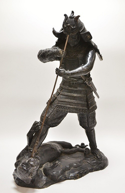 Japanese Samurai Fighting Tiger Bronze Statue