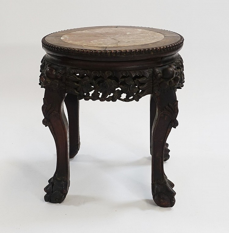 Chinese Carved Hardwood Hongmu Marble Top Stand