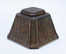 Tiffany Studious Chinese Patinated Bronze Inkwell
