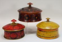 3 Antique Indian Polychrome Wood Storage Boxes