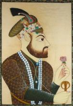 Large Indian Portrait Painting on Linen of a Man