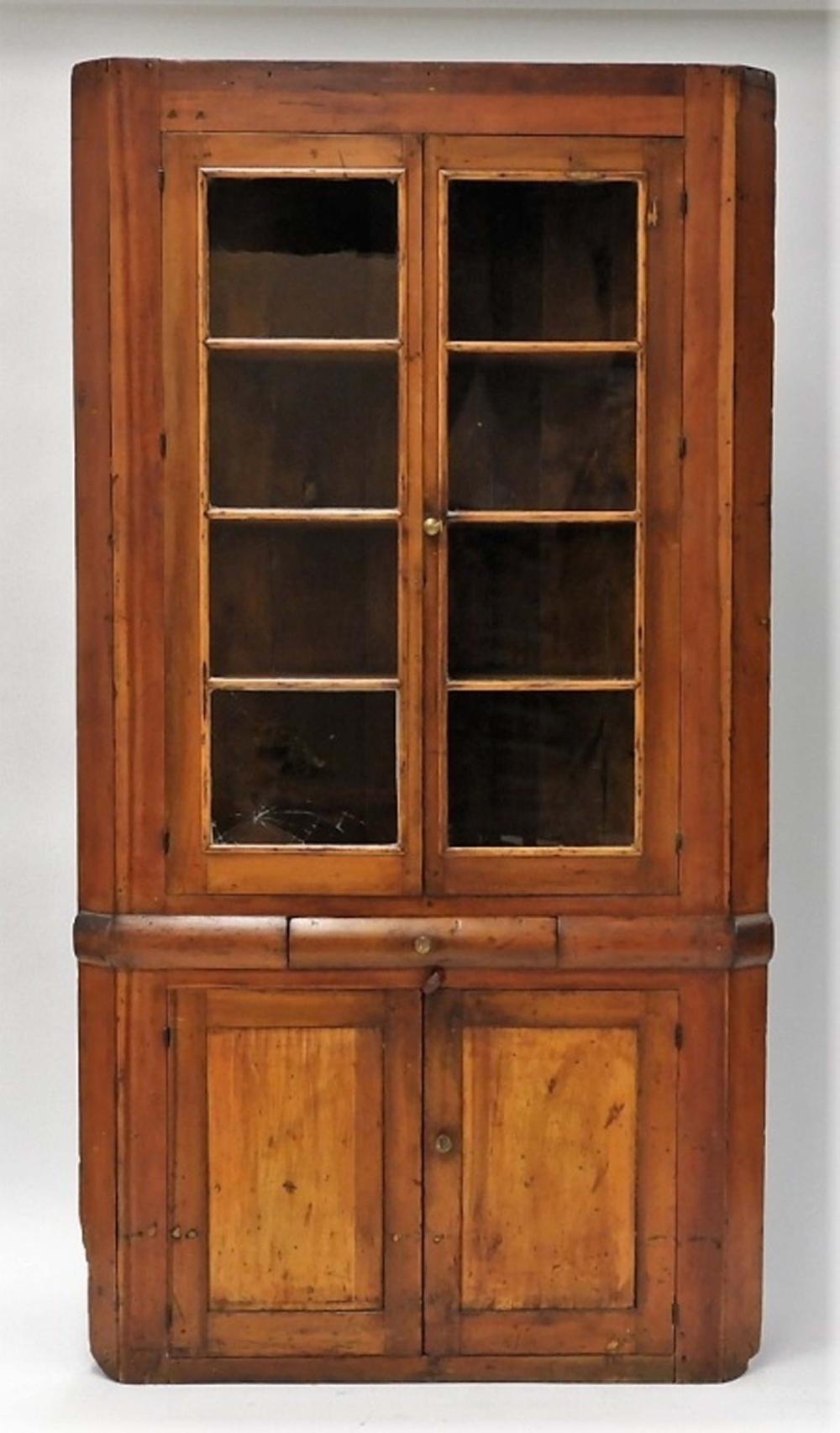 new england pine mullion glass door corner cabinet. Black Bedroom Furniture Sets. Home Design Ideas