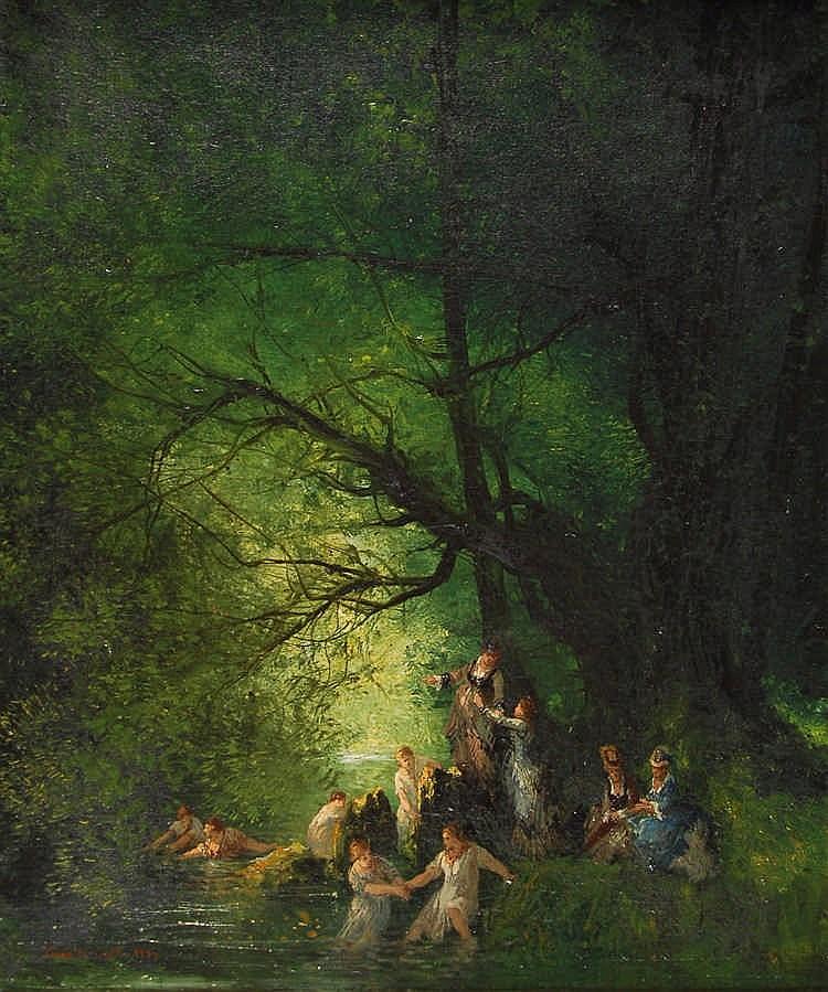 César De Cock  (1823-1904) Les baigneuses Huile sur toile.
