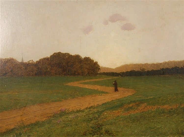 Jan Van Beers  (1852-1927) Le chemin de campagne Huile sur to