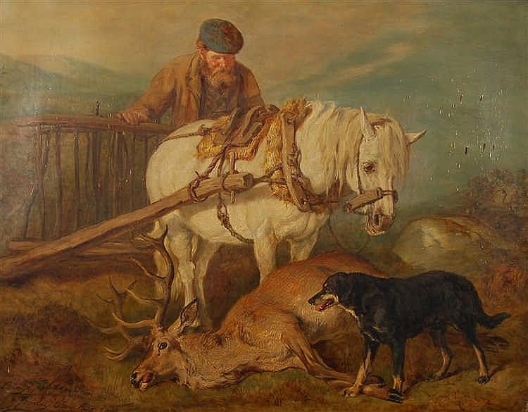 Gourlay Steel  (1819-1894) Le retour de la chasse Huile sur t