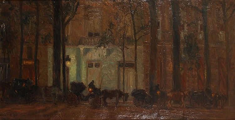 Maurits Niekerk (1871-1940) L'attente nocturne Huile sur toi