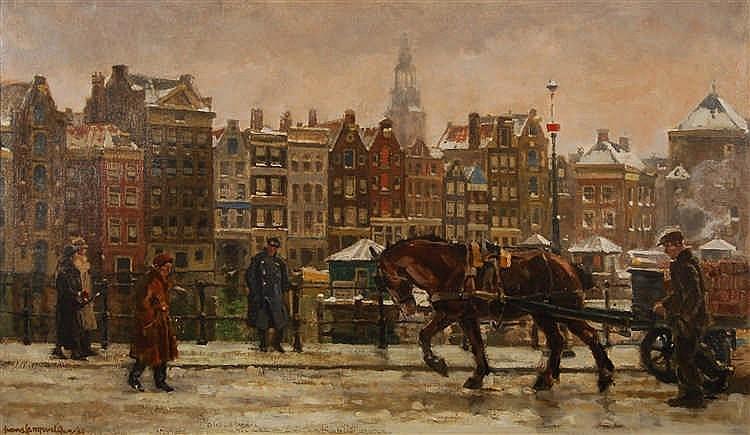 Frans Langeveld (1877-1939) Le Damrak à Amsterdam Huile sur