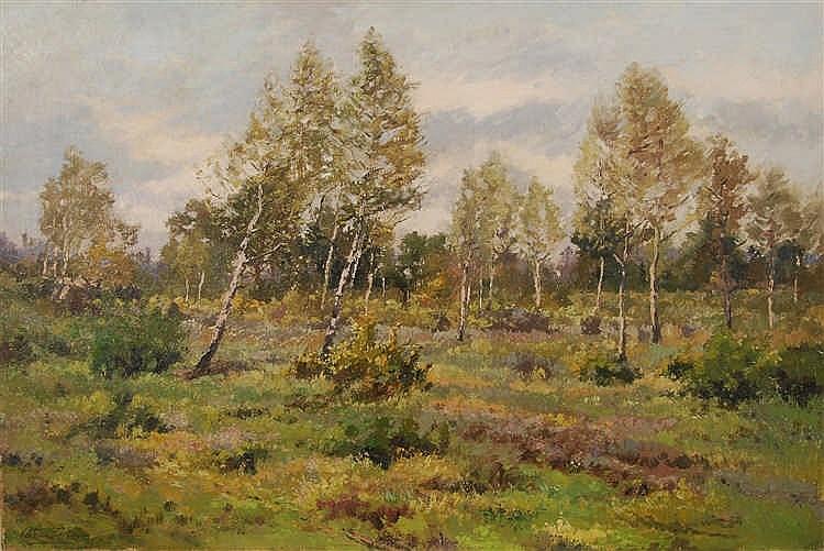 Adrien Colleye (XIXe-XXe s.)   Paysage de Campines Huile sur