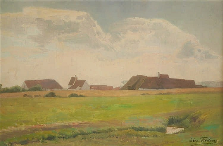Léon Frédéric  (1856-1940) Fermes dans un paysage Huile sur t