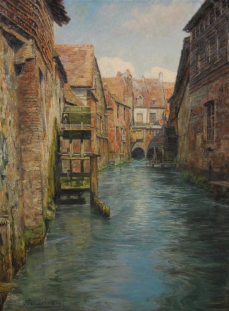 Ferdinand Willaert  (1861-1938) Rivière à Artois Huile sur to
