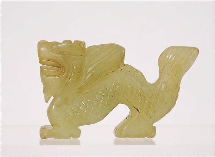 Chine Lion archaïque  Jade taillé, Chine. H. 5 cm.