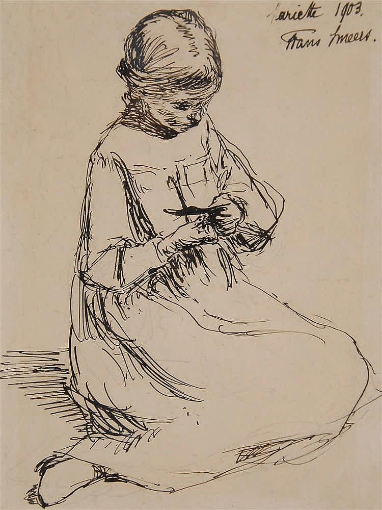 Frans Smeers  (1873-1960) Fillette assise Encre de Chine sur