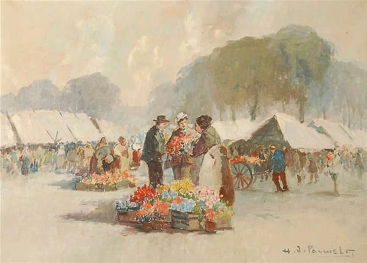 Henri Josef Pauwels  (1903-1983) Marché anversois Huile sur t