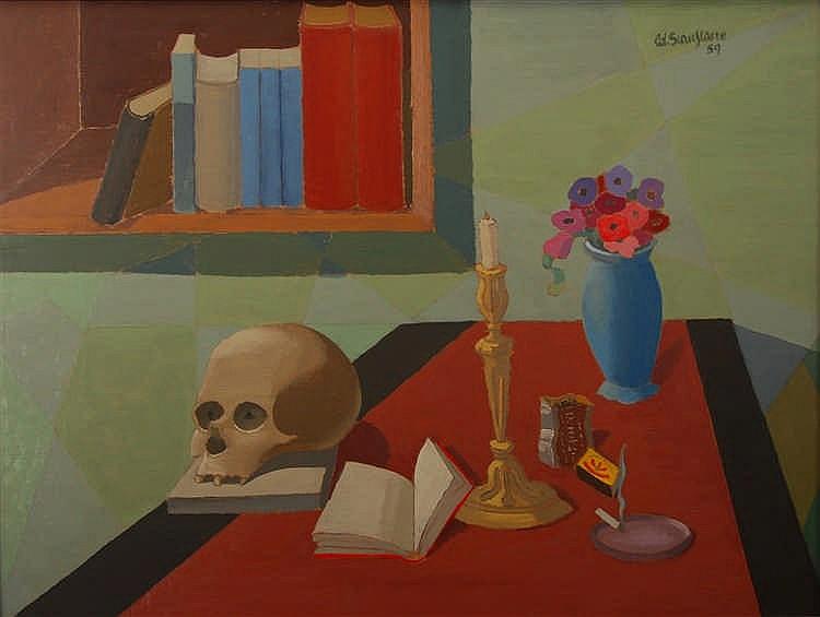 Edgard Scauflaire  (1893-1960) Memento mori Huile sur panneau