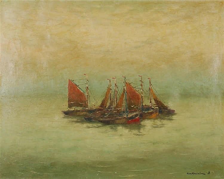Luc Kaisin  (1901-1963) Bateaux de pêche en mer Huile sur toi