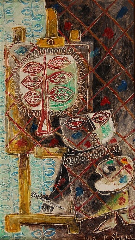 Pinchas Shaar  (1923-1996) L'atelier de l'artiste Huile sur t