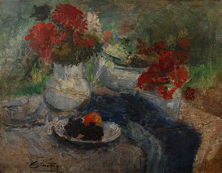 Victor Simonin  (1877-1946) Table garnie de vases de fleurs e