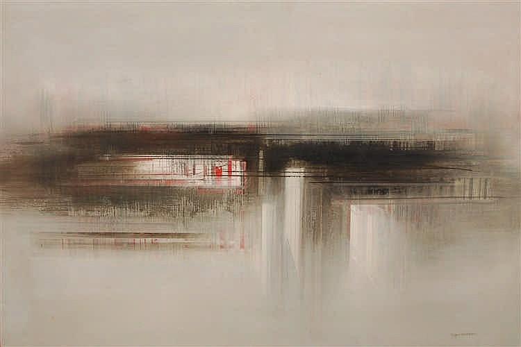 Roger Dudant  (1929-2008) Composition Huile sur toile.  S
