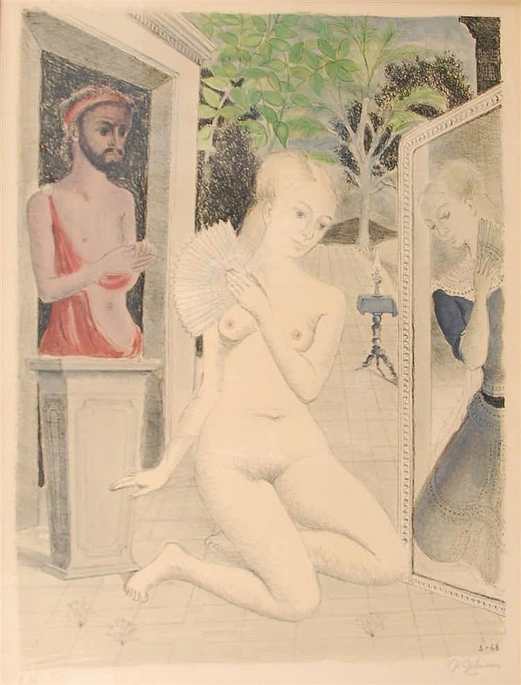 Paul Delvaux (1897-1994) L'éventail Lithographie en couleurs