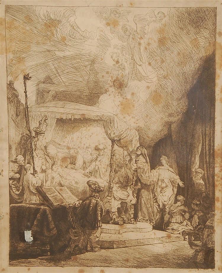 Rembrandt Harmensz.Van Rijn La mort de la Vierge Eau-forte