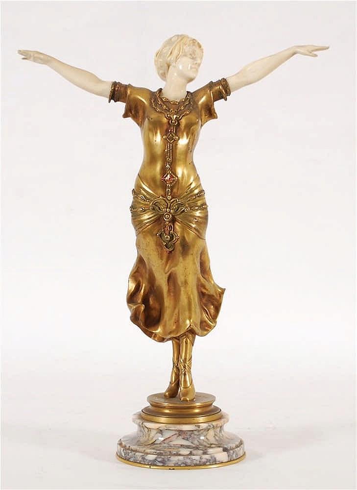 F. Lemoyne Danseuse Bronze doré et polychromé; ivoire sculp