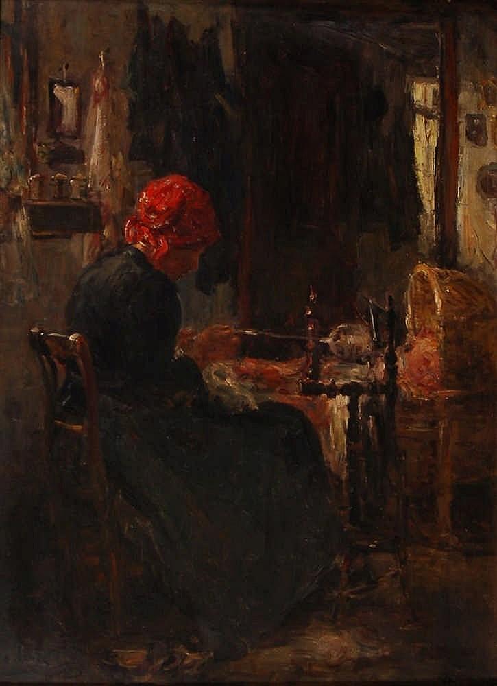 Armand Jamar (1870-1946) La fileuse Huile sur toile. Si