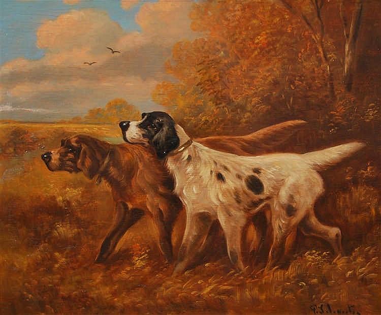 Paul Schouten  (1860-1922) Deux chiens de chasse Huile sur pa