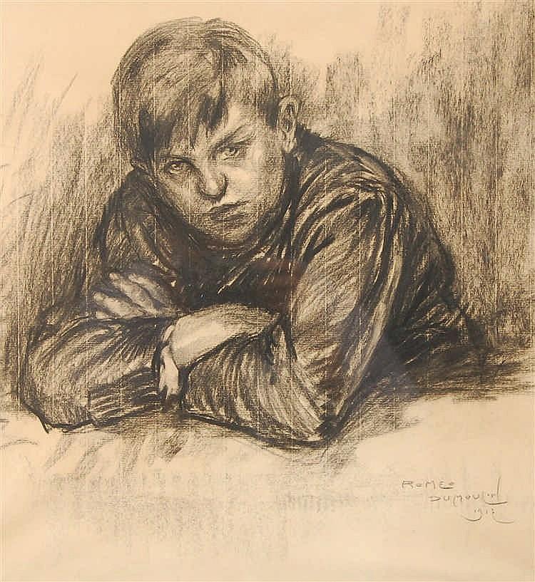 Roméo Dumoulin  (1883-1944) Jeune garçon Fusain sur papier.