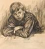 Roméo Dumoulin  (1883-1944) Jeune garçon Fusain sur papier. , Roméo Dumoulin, €0