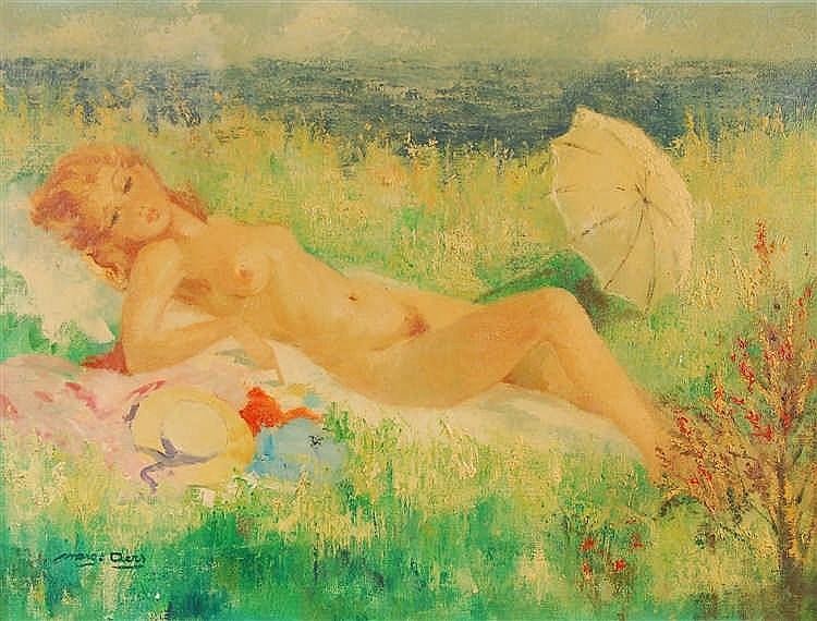 Marguerite Aers  (1918-1995) La baigneuse Huile sur toile.