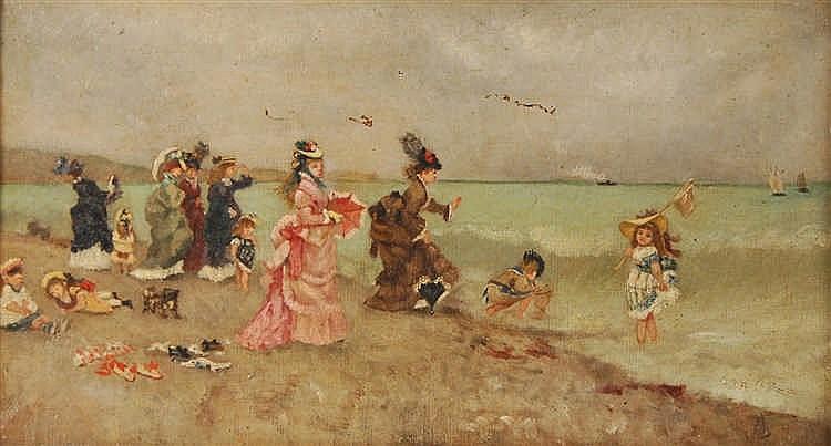 A. Stevens Scène de plage avec jeunes femmes et enfants Huile sur
