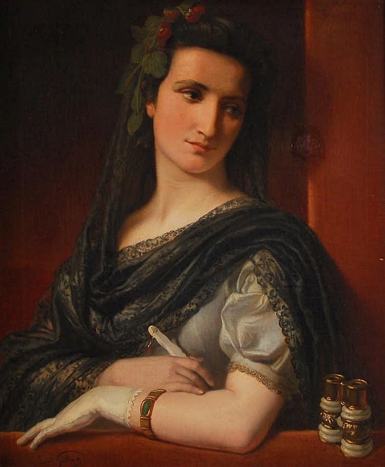 Louis Gallait  (1810-1887) La loge de théâtre Huile sur toile