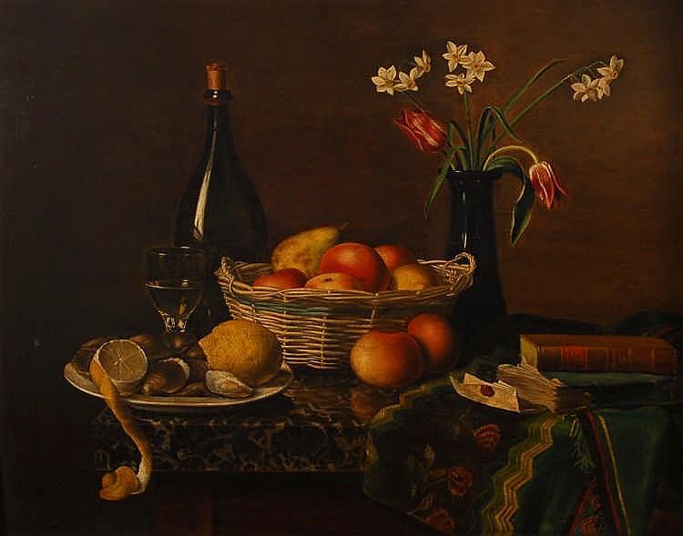 Anonyme début XIXe s. / Anoniem begin 19de eeuw Fruits, huîtres,