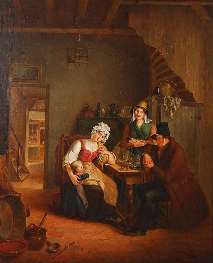 A. Hillegeer Personnages dans un intérieur de cuisine Huile sur t