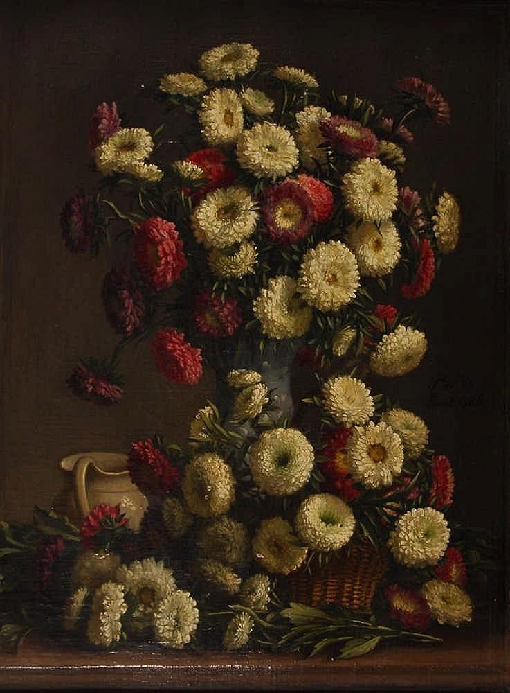 Pieter De Vos (XIXe s. / 19de eeuw)   Vase de fleurs et cruch