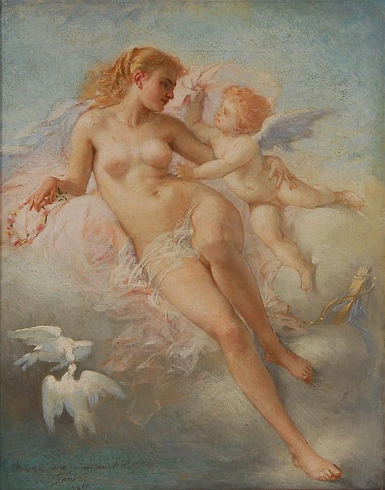Jules Saintin (1829-1894) Vénus et Cupidon Huile sur toile.