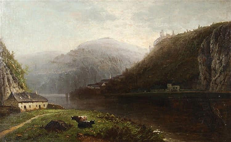 Henri Piéron (XIXe siècle / 19de eeuw)   Paysage lacustre Hui