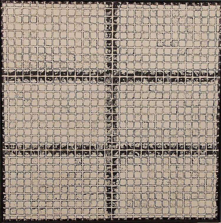 Mark Verstockt  (1930-) Composition Acrylique sur toile.