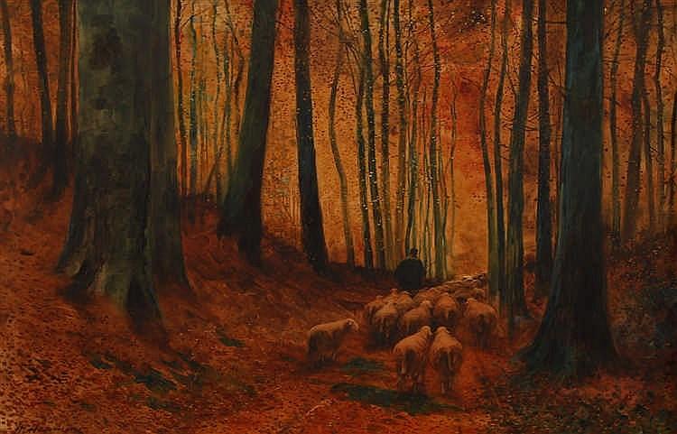 Maurice Hagemans (1853-1917) Berger et moutons traversant la