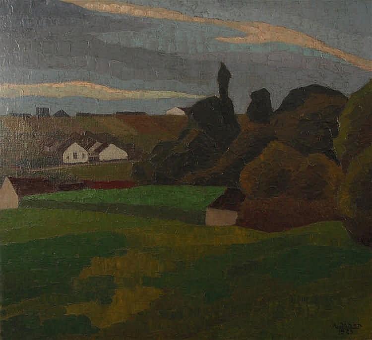 Arthur Schön  (1887-1940) Paysage expressionniste Huile sur t