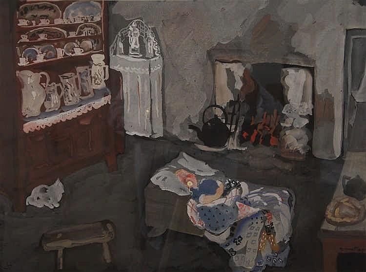 Marie Howet (1897-1984) Jeune enfant dormant dans la cuisine