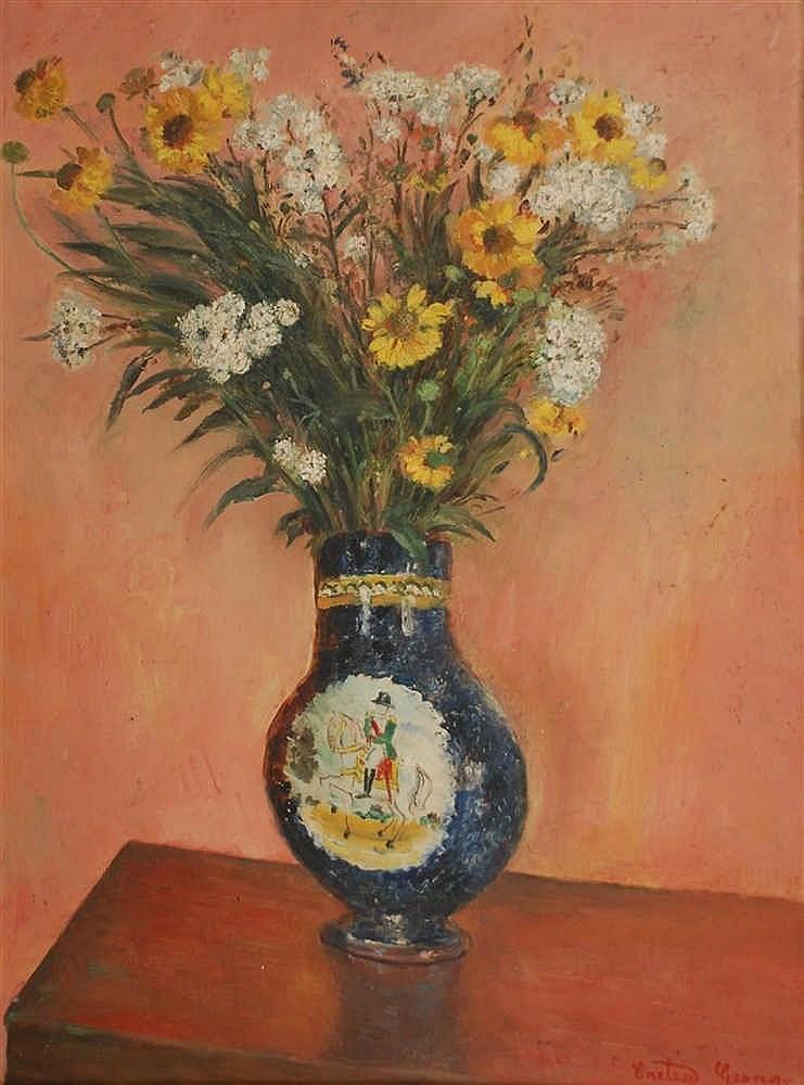 Georges Creten (1887-1966) Bouquet champêtre Huile sur panne