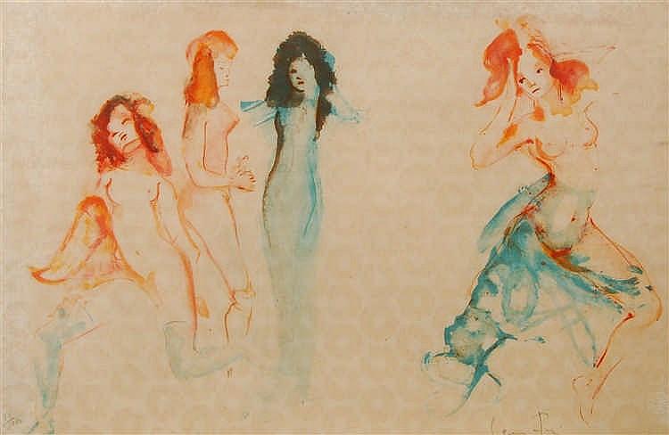 Leonor Fini  (1908-1996) Quatre femmes Lithographie en couleu