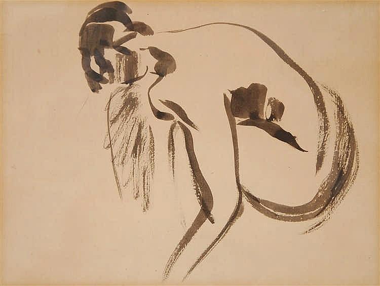 Rik Wouters  (1882-1916) Baigneuse vue de dos Lavis d'encre d